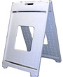 white Marquee Jr a-frame sign holder for plastic corrugated sheets pads coroplast